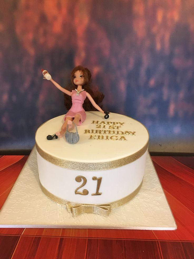 21st Birthday Cake. White and gold cake.