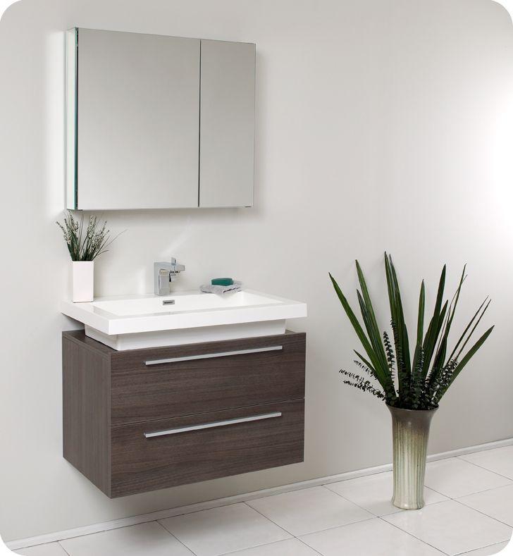 Fresca Medio Gray Oak Wall Mounted Bathroom Vanity W/ Medicine Cabinet U0026  Faucet