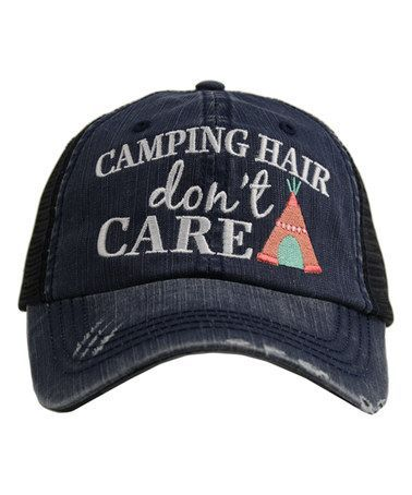Navy & Coral 'Camping Hair Don't Care' Trucker Hat - Adult