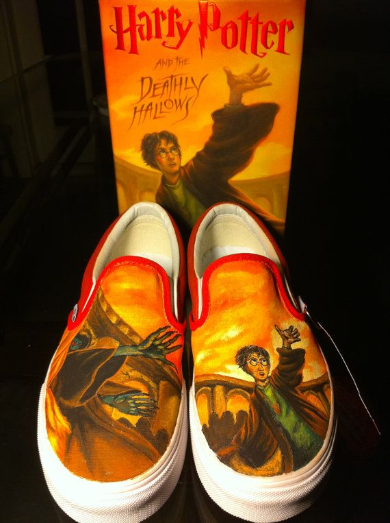 Custom Painted Harry Potter Vans Slip on Shoes - Made to Order. $80.00, via Etsy.