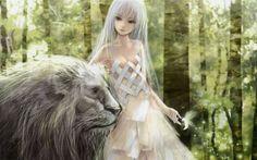 Natureza Florestas Insetos vestido longo cabelo clivagem olhos vermelhos leões cabelo branco vestido branco Redjuice meninas do anime wallpaper fundo