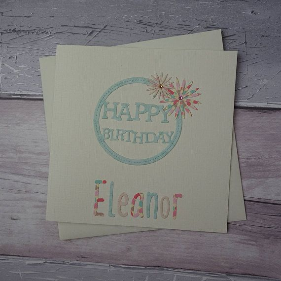 Handmade birthday card with name Personalised floral gem