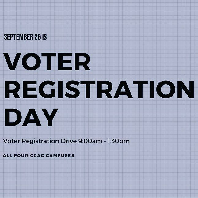 Today is Voter Registration Day! The Honor Societies at all four #CCAC campuses will have tables set up until 1:30pm today for anyone who wants to register or re-register to vote in PA. Visit http://ift.tt/2k1jesa for more info!