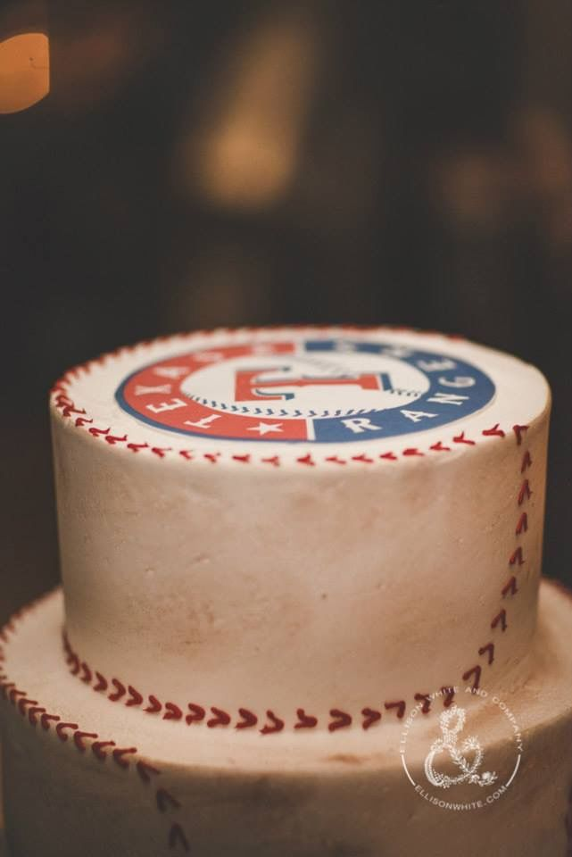 Wedding cake groom's cake texas rangers cake baseball cake