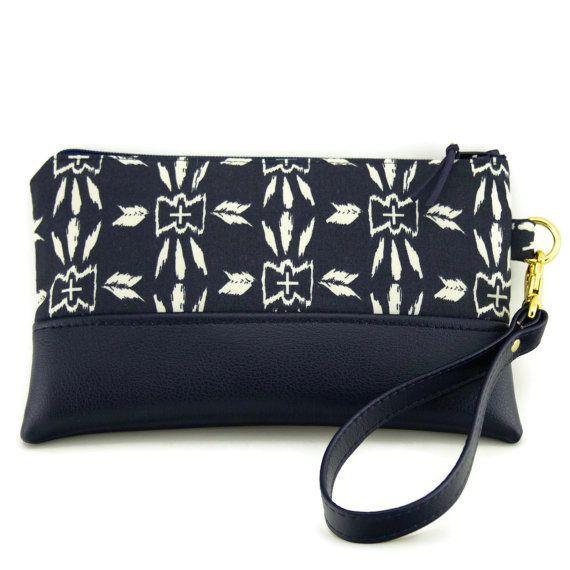 evening clutch purse  navy blue  wristlet clutch by CandiedCottons