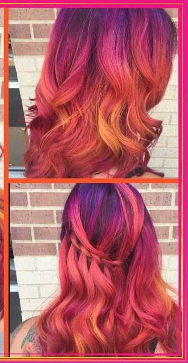 Purple orange dyed hair color inspiration