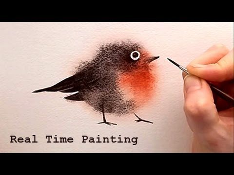 """Explained Real Time Watercolor Illustration """"Fuzzy Bird"""" Painting by Iraville - YouTube"""