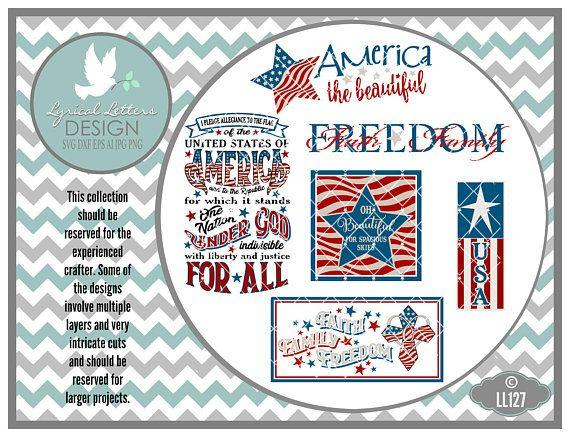Patriotic July 4 Pledge of Allegiance Faith by lyricalletters  #patriotic #svg #cricut #silhouette #lyricalletters