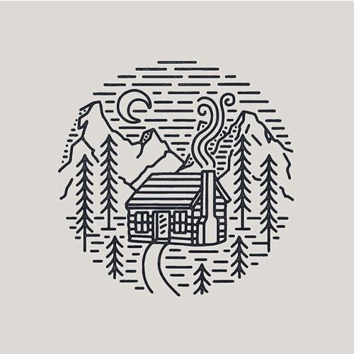 Wood Is Good! line logo, cabin scene, mountains, trees, moon