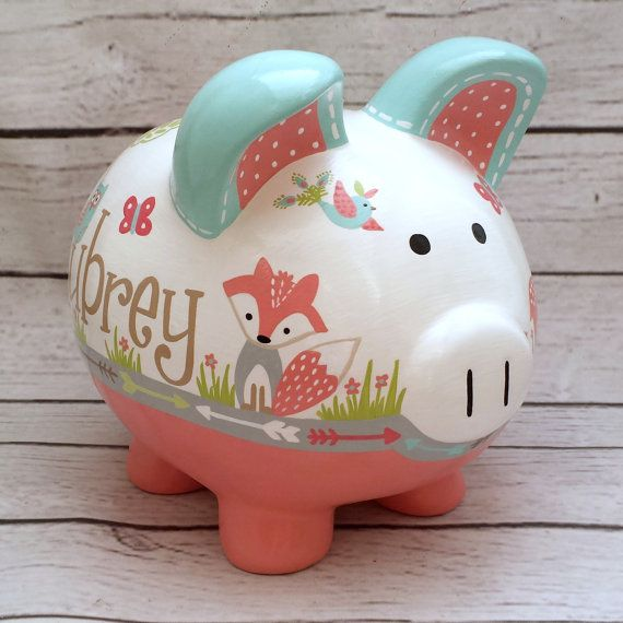 Personalized Piggy bank Coral and turquoise by Alphadorable