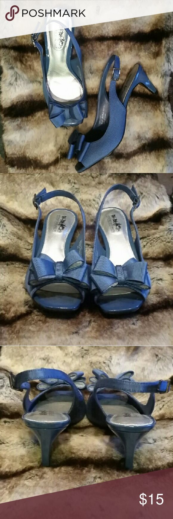 "Coach and Four Blue Slingback Peeptoe Pumps 6.5 M Never Worn.  Small Scuff Mark to Left Interior Shoe. Light Blue Textured Satin-Like Material 2.75"" Heel Coach and Four  Shoes Heels"
