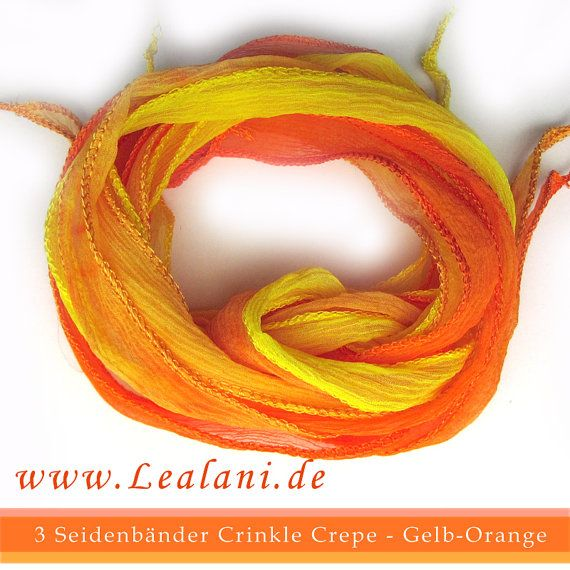 set with 3 silk ribbons crinkle crepe orange by Schnoerkelwerk