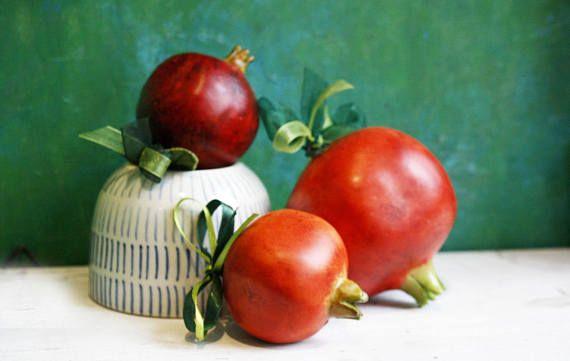 Ceramic Pomegranate Charm Ceramic art Goodluck Coodluck