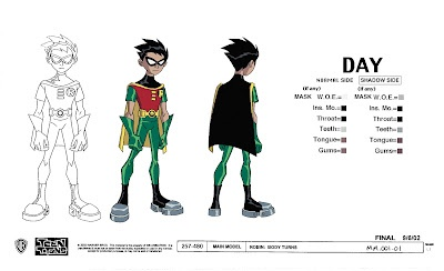 Model sheet of Robin from Teen Titans. Solid, moody take that breathed life into an exhausted character. With this design, less is more.