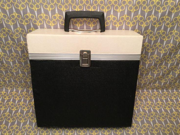 12 Vinyl Record Storage Box 33rpm Lp Case Tote Black White Cream Linen Vintage