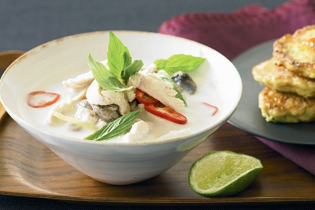 This light, fragrant, creamy tom kha gai – a classic Thai soup – is an absolute blast of hot, sweet and sour flavours. Serve steaming bowlfuls with little golden corn fritters ready to dunk in sweet chilli sauce.