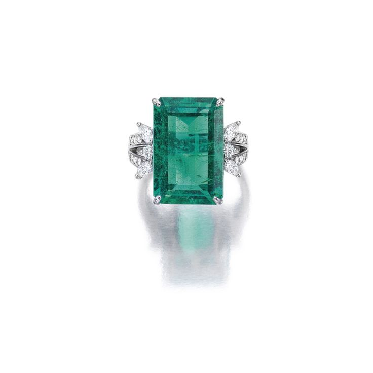 Emerald and Diamond Ring, Set with a step-cut emerald weighing 11.14 carats