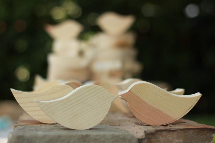 Rocking Love Bird Wedding Table Decor Unpainted Nude set of 10. $14.99, via Etsy.