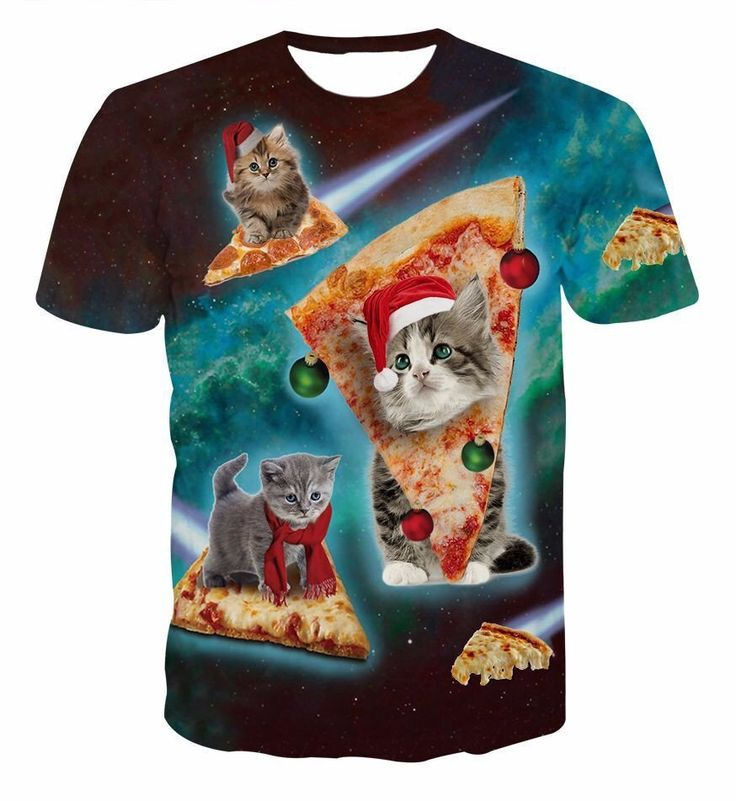 Pizza Grey Baby Cat Flying in the Space Galaxy Funny Unique 3D T-Shirt