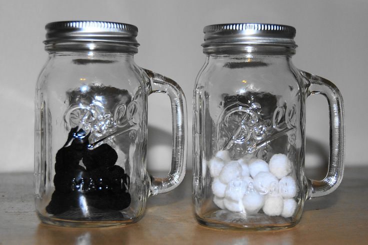 Sprucing up our toddler dramatic centre this week. Meet Salt & Pepp'a. Mason jar type shakers filled with white and black pom-poms.