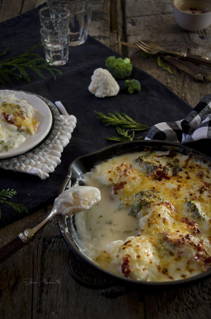 Gratén de coliflor y broccoli con jamón