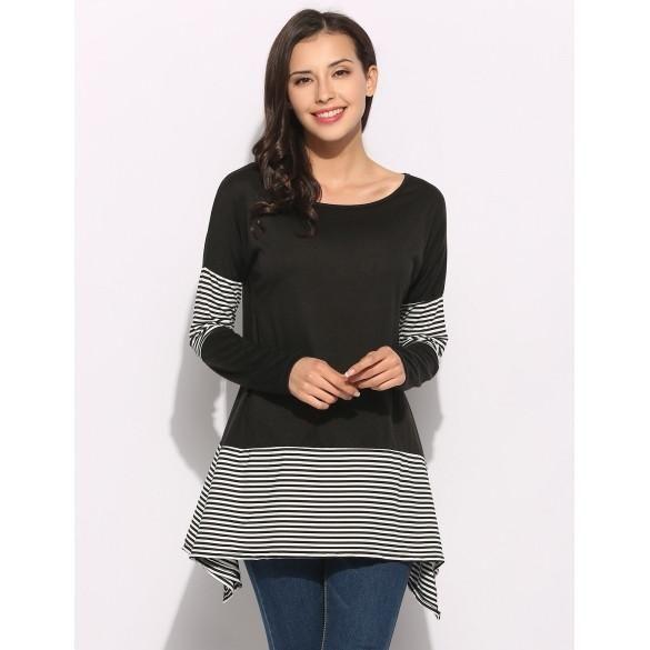 Casual Women Long Sleeve O-Neck Stripes Patchwork Irregular Hem Loose Long T-Shirt