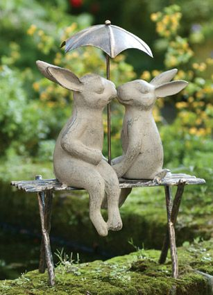Bunnies on a Bench (Product Detail). Crafted of cast aluminum with verdi and gold hand-applied finishes, the statue is an ideal gift for a wedding or anniversary.