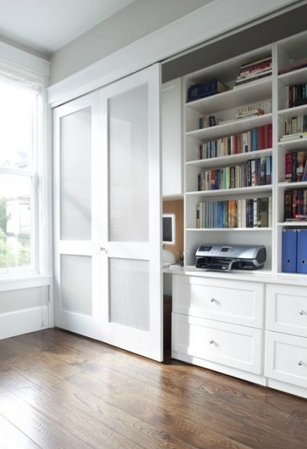 Hide away office. If you don't have a proper study room but want to tidy up only closing a sliding door_MC