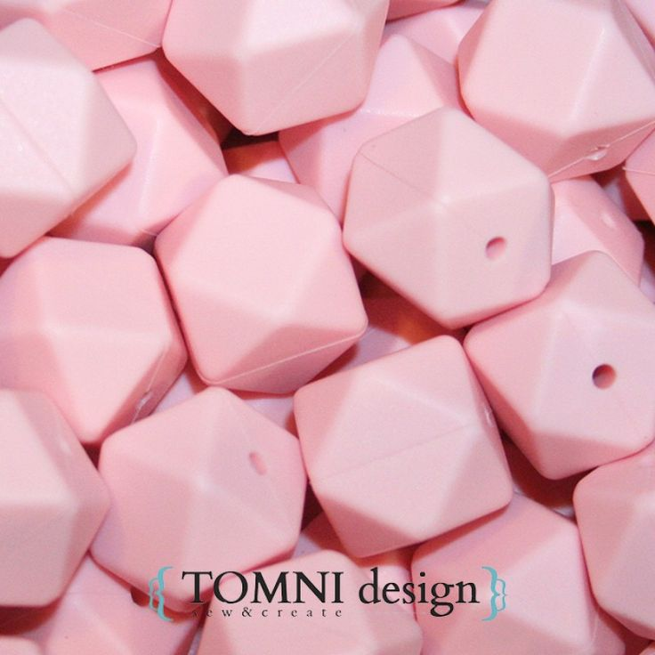 Hexagon / Geometric Baby Pink Silicone Beads - great for DIY necklaces, keyrings, pram garlands
