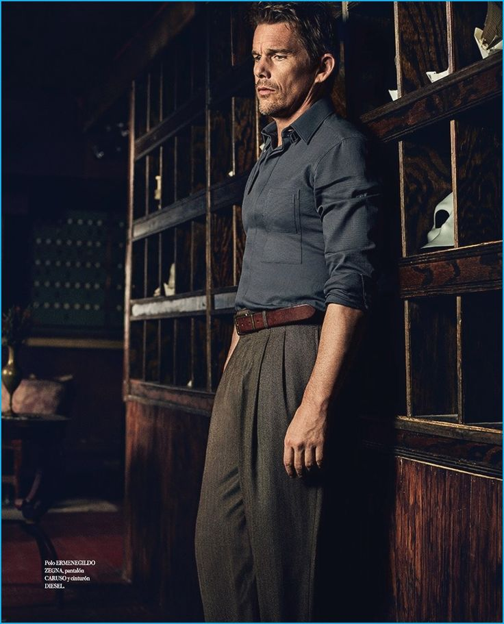 Ethan Hawke embraces an old time flair in an Ermenegildo Zegna shirt with Caruso pants and a brown leather Diesel belt for Icon El País.
