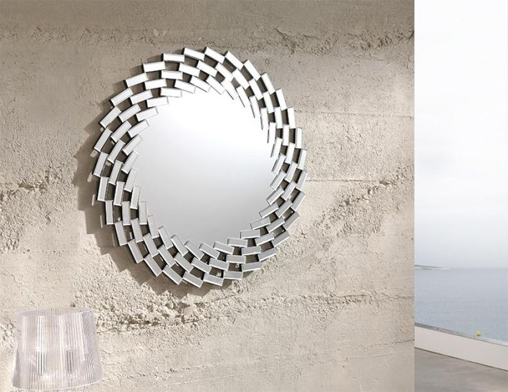 Contemporary Round Wall Mirrors with Spiral Effect Mosaic Frame