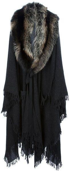 Lanvin Gray Oversized Fur Collar Coat