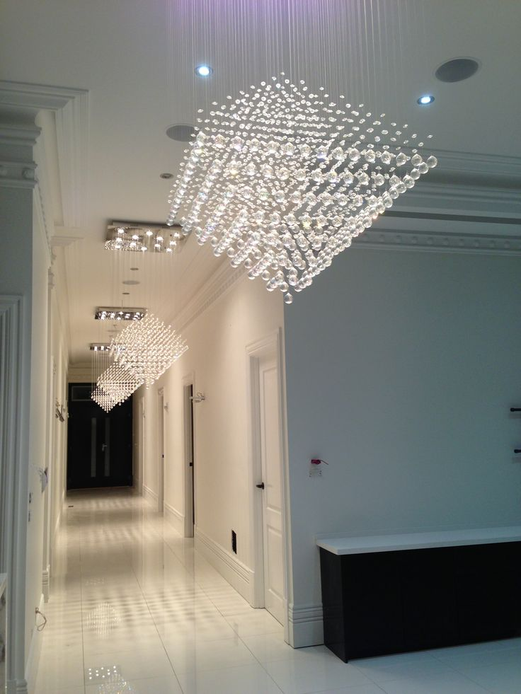 Hallway Modern Chandeliers White Tiles Luxury Home Rw Rightway Developments Melbourne Custom House Renovations New Houses