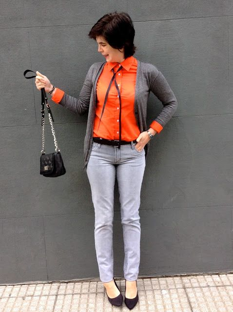 Serendipity!: Orange + Grey - Look of the day, style, daily look, look, fashion