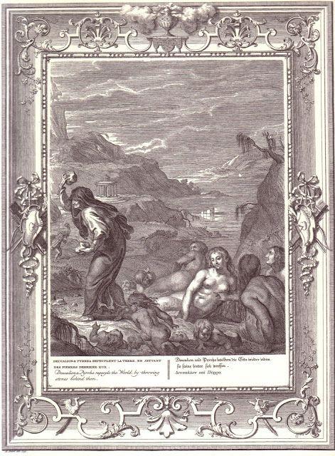 7.Δευκαλίων είναι ο σύζυγος της Πύρρας, κόρης του Επιμηθέα και της Πανδώρας: ήταν οι μόνοι άνθρωποι που επέζησαν από τον Κατακλυσμό και αναδημιούργησαν την ανθρωπότητα. Ήταν γιος του Προμηθέα και της Πανδώρας ή της Κελαινούς ή της Κλυμένης του Ωκεανού κατά τον Διονύσιο της Αλικαρνασσού. Ο κατακλυσμός του Δευκαλίωνα έγινε το 9600 Π.Χ.......Πηγή.https://el.wikipedia.