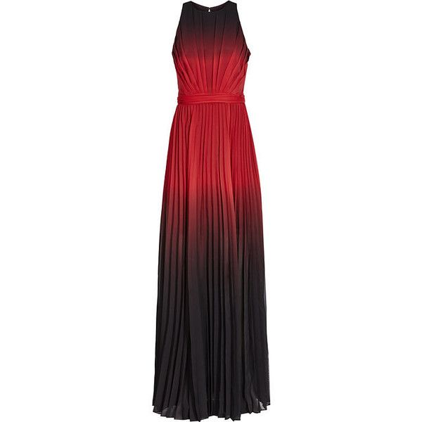 OMBRE PLEATED MAXI DRESS ($555) ❤ liked on Polyvore featuring dresses, garnet dress, red ombre dress, pleated dress, maxi dresses and red maxi dress