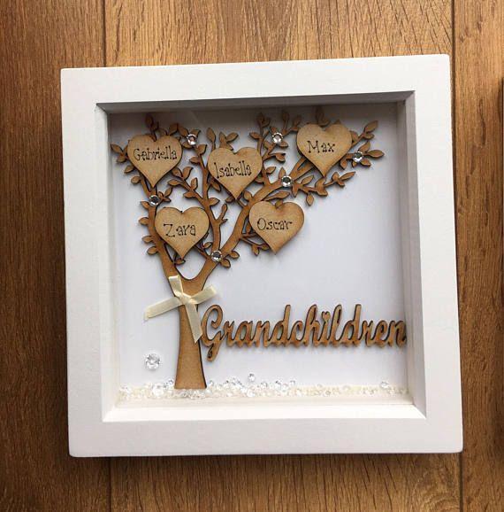 Grandchildren tree deep box frame  perfect gift for loving