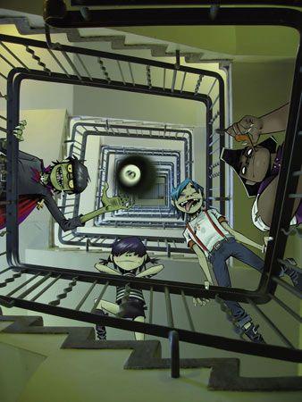 Jamie Hewlett - 8-ball Staircase Murdoc, Noodle, 2D, Russel [Gorillaz]