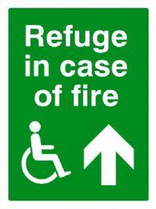 DDA Refuge in case of fire safety sign 300x400mm UP ARROW