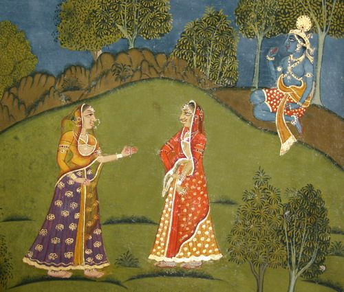 """""""Folio from Matiram's Rasraj. Datia, circa 1770. ....  This is painted on the basis of Rasraj doha (couplet) no.78. The sense of this doha is that the nayika (romantic heroine) hides her love-making marks from her sakhi (companion) who informs her that she can not hide her love for Krishna from her because just hearing the name of Krishna causes goosebumps."""""""