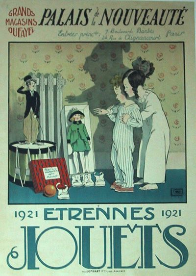 """Vintage French Poster -  Etrennes Jouets 1921  Georges Leonnec  32 3/8"""" x 23 1/2"""""""