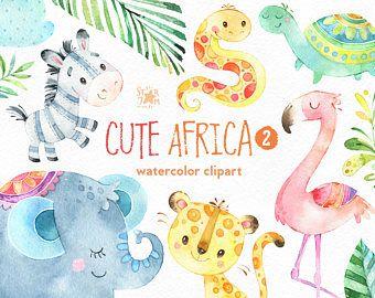 Amigos africanos. Acuarela animales gráfico León elefante