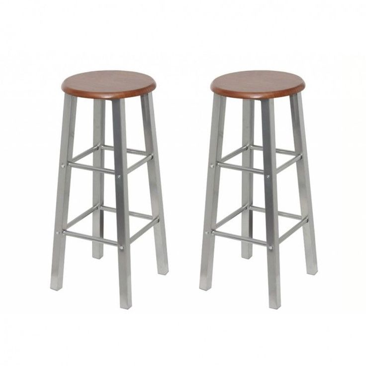 Bar Stools Set Of 2 Metal patio Frame Style Modern Chair Kitchen Home Barstools