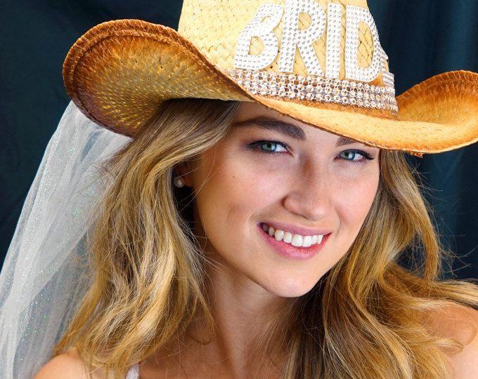 Country Western Rockstar Gem Bride Cowgirl Straw Bride Hat With Veil Bachelorette Party Bridal Shower Beach Wedding Cowbo Cowgirl Bride Bride Hat Cowgirl
