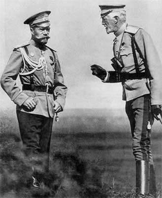 Tsar Nikolai II catching hell, again, from his uncle Grand Duke Nikolai Nikolaievich of Russia