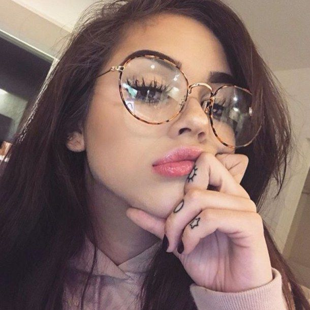 image Beauty girl with glasses and big boobs