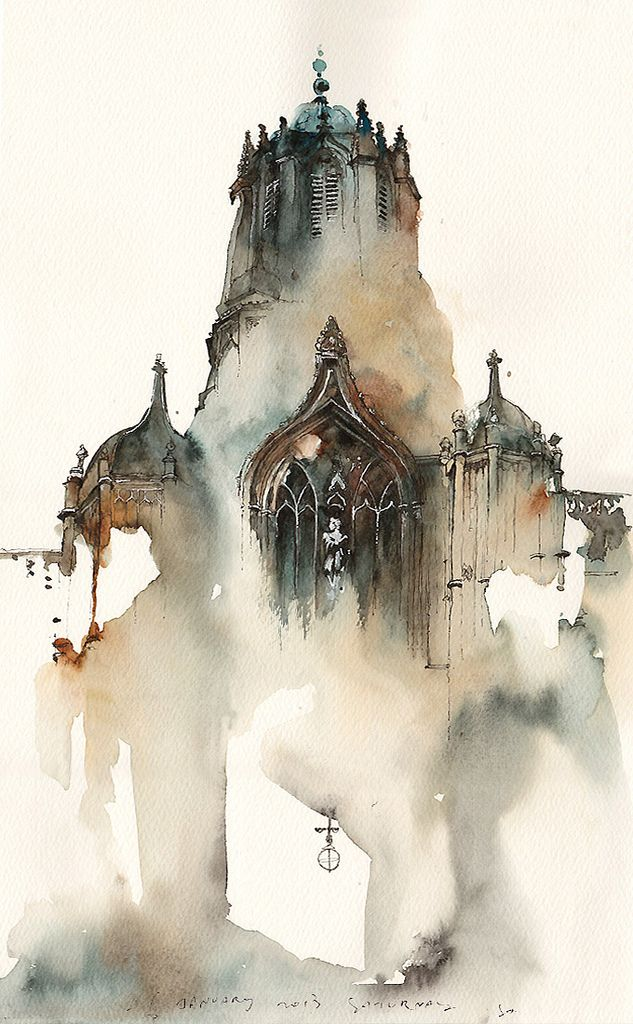 Tom Gate, Christ Church, Oxford, UK Watercolor by Park Sunga Liking the semi-finished aspect of this painting, changing how the eye perceives detail and attention.