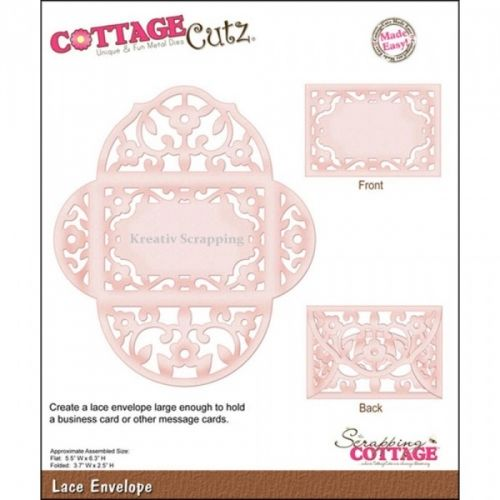 COTTAGECUTZ - CX004 - LACE ENVELOPEDe er enkle å bruke og du får flotte detaljer til dine prosjekter.  Approximate Assembled Size:flat- 5.5x6.3 inches; folded-3.7x2.5 inches. COTTAGE CUTZ: Cottage Cutz Dies. With design styles that are cute and adorable; fun and whimsical; and classically elegant these universal wafer-thin dies make a great addition to your paper crafting supplies. Cut amazing shapes out of paper; cardstock; adhesive-backed paper; vinyl; vellum a...