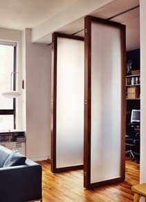 Opaque glass - tall door room divider style - top hanging?