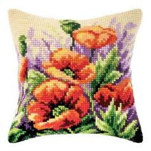 Oriental Poppies Pillow Cover Quickpoint™ Kit - Herrschners